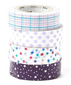 Dots & Plaid Washi Tape Set by MT #zulily #zulilyfinds