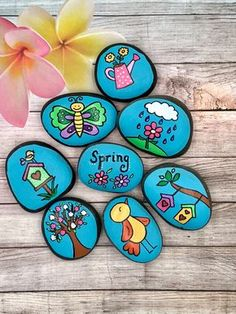 Spring Story Stones, Spring Story Starters, Springtime Painted Rocks, Story Rocks, Flowers of Spring, Birds and Birdhouses Story Stones by AlleluiaRocks on Etsy