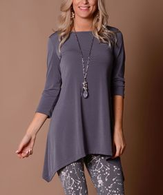 Love this Gray Three-Quarter Sleeve Sidetail Tunic - Plus on #zulily! #zulilyfinds