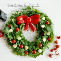 Guirlanda de Rúcula para o Natal - Salada em forma de guirlanda - Enfeite de Natal comestível- Arugula or baby spinach Wreath for Christmas - Madame Criativa www.madamecriativa.com.br