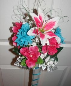 newer colors for my bridesmaids...malibu blue and watermelon pink...still using a light blue for runners