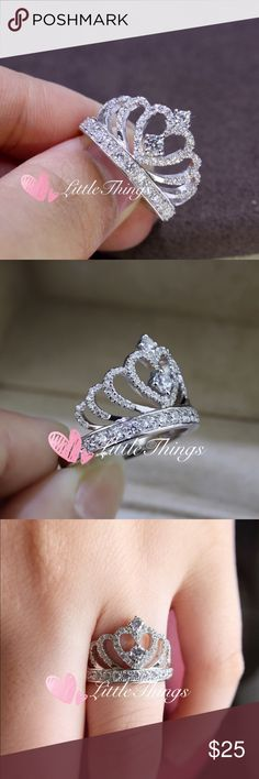 High Quality Princess Crown Ring Size 5-9 These beautiful CZ's are AAA Grade ,They are much prettier in person !                                                  Material : 925 Sterling Sliver stamped :925                                        Brand New.                                                                      Size:6 7 8 9 Jewelry Rings