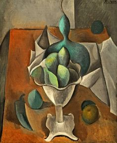 Pablo Picasso ~ Fruit Dish, (oil on canvass) This piece is very intriguing, I think that Picasso used colour and tone well and successfully conveyed to the viewer a unique and interesting fruit dish. As for the background, the table is long and r Picasso Still Life, Still Life Art, Picasso Cubism, Picasso Paintings, Cubist Movement, Georges Braque, Spanish Painters, Arte Floral, Henri Matisse