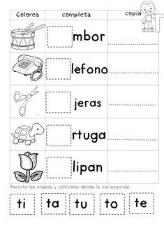 Mi Cuadernillo de Sílabas - Imagenes Educativas Free Kindergarten Worksheets, Alphabet Worksheets, Classroom Activities, Spanish Lessons For Kids, Learning Spanish, Spanish Alphabet, Math For Kids, Kids Writing, Teaching Kids