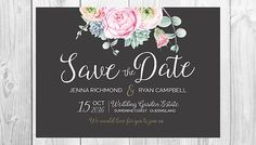 Floral Save the Date Card - Rose Peony Succulent Watercolour - Personalised - Printable - Digital File - Chalk Landscape Design