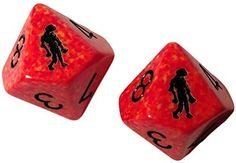 Custom & Unique {Standard Medium Size} 2 Ct Pack Set of 10 Sided [D10] Square Cube Shape Playing & Game Dice w/ Rounded Corner Edges w/ Splatter Zombie on Number 0 & 10 Design [Red & Black]