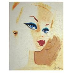 "Original Debbie Curtis ""barbie"" style paintings, acrylic on canvas, available for purchase at www.rugandrelic.com"