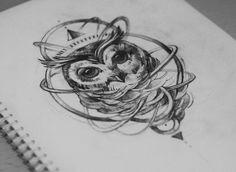 Owl by Teti Malik, owl tattoo idea.