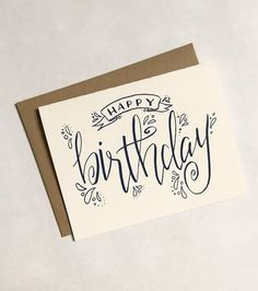 Articoli simili a SALE – Happy Birthday Greeting Card, Calligraphy, Hand Written su Etsy - Handlettering Geburtstag Happy Birthday Greeting Card, Handmade Birthday Cards, Diy Birthday, Card Birthday, Birthday Ideas, Birthday Wishes, Birthday Images, Birthday Quotes, Birthday Presents