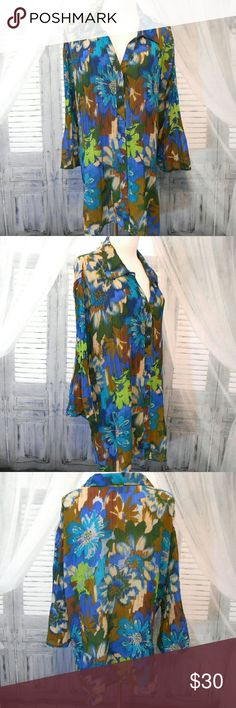 """Maggie Barnes Pleated Chiffon Blouse Bust 62"""" Waist 62"""" Hip 64"""" Length 31"""" Lightweight sheer polyester chiffon fabric in blues, green, brown  & beige floral design. Button front with v neck-line & collar. Bust-line darts.  3/4 bell sleeves. Square hem. Machine wash. Very good condition. No flaws   20173 Maggie Barnes Tops Blouses"""