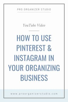 In this video, Jen answers common question from professional organizers, including how to  use pinterest and instagram in your organizing business. Check out this video and other videos on Jen's YouTube channel for more tips on how to start and grow your professional organizing business! Professional Organizing Tips, Professional Organizers, Business Organization, Life Organization, Organizing Life, Business Branding, Business Tips, Online Business, Wisdom Quotes