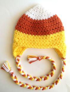 Crochet Candy Corn Hat Halloween Photo Prop by PinkLemonKnits