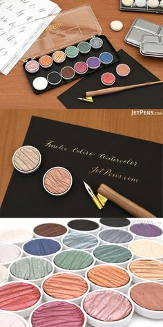 These high-quality opaque watercolors are made with mica, a natural mineral that gives them a lustrous pearlescent sheen. Use them to add highlights and special effects to your art or to create striking calligraphy.