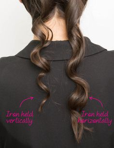 First, grab a small 1-inch section of hair. Then, starting at the mid-shaft of your hair, twist and wrap it over the barrel while holding the iron horizontally. Hold the hair in place for a few seconds, and then release for a loose wave. If you want tighter, more spirally curls, hold the wand vertically while you wrap the hair around it.  To see a full article on this technique, click here.