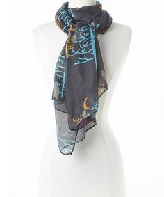 Look what I found on #zulily! Black Owl Oblong Scarf by David & Young #zulilyfinds