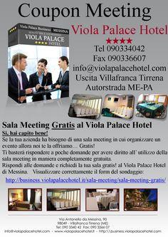 Sala Meeting Gratis al Viola Palace Hotel Ti basterà rispondere a poche domande per avere diritto all'utilizzo della sala meeting in maniera completamente gratuita.