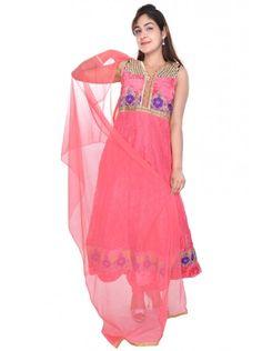 Designer Pink Colored Anarkali Suit Only At 1999   https://www.crazora.com/anarkali-suits/vareez-pink-net-brasso-velvet-anarkali-suit-9725.html