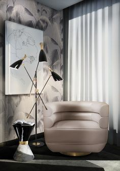 Living Room Set | LOREN Armchair and VINICIUS Side Table by @essentialhomeeu, DUKE Floor Lamp by @delightfulll | Modern Interior Design Inspiration. Leather Armchair. #interiordesign #livingroomset #chairdesign Find more: http://essentialhome.eu/products/upholstery/loren-armchair