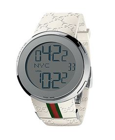 Gucci Watch, Men's Digital I-Gucci White Rubber Strap 44mm YA114214 - All Watches - Jewelry & Watches - Macy's