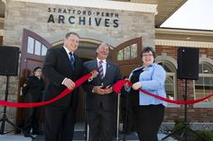 Ribbon Cutting at Stratford-Perth Archives Stratford Ontario, Grand Opening, Perth, Writers, Ribbon, Actors, Photo And Video, Opening Day, Tape