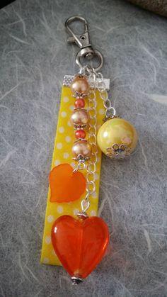 Bijoux de sac / porte clés rose, jaune orangé (BS-003)