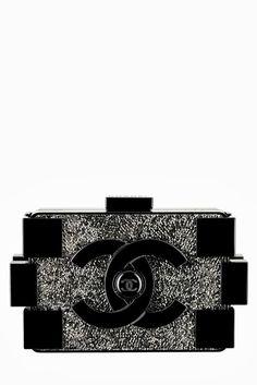 Chanel Black and Grey Brick Clutch