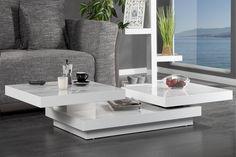 """Der Couchtisch """"MULTILEVEL L"""" in Hochglanz-Lackierung kombiniert klares, puristisches Design mit Funktionalität. Der Clou an diesem Tisch: die beiden oberen Ebenen können durch zwei unabhängige Rotationspunkten variabel gedreht werden. Ein Couchtisch, der sich Ihren individuellen Bedürfnissen anpasst und dabei die Abstellfläche enorm vergrößert. Einfach genial!"""
