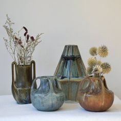 C 1920s Lovely Vintage Denbac France Art Nouveau Ribbed Vase