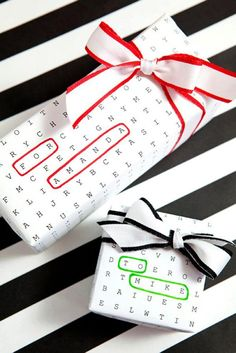 Now that you have your gifts, it seems a shame to not have something equally clever to wrap them in. We adore this word search-themed gift wrap that you can print out with your friends' names. @myweddingdotcom