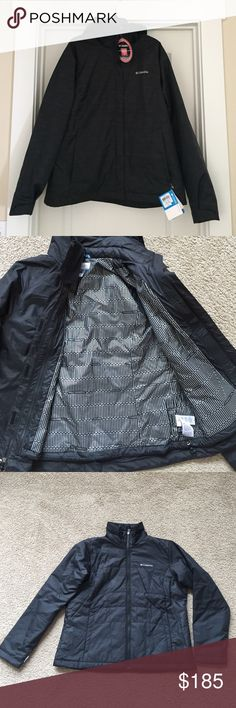 Double Layer Columbia Jacket Great jacket!! One of the layers is a waterproof windbreaker and the other jacket is a light puffer jacket. The puffer jacket zips inside of the windbreaker and is perfect for warmer days. This is basically two jackets that can be worn together or separately based on the weather. The hood is detachable. Perfect for snowboarding, skiing, or other winter activities. Columbia Jackets & Coats Puffers