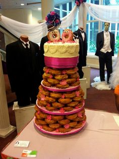 A Glazed Donut Wedding Cake Made with Dunkin' Donuts