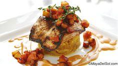 pescado del dia   mahi-mahi · garlic marinade · spaghetti squash · caramelized apple · ajillo sauce