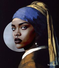 15 fun 'collage' photos that combine pop culture with classic art, Girls With Nose Rings, Blog Art, Photographie Portrait Inspiration, Arte Pop, Statue, Aesthetic Art, Oeuvre D'art, Rihanna, Collage Art