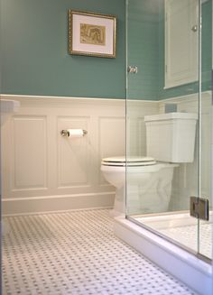 Powder Room: wall color-Sherwin Williams Moody Blue