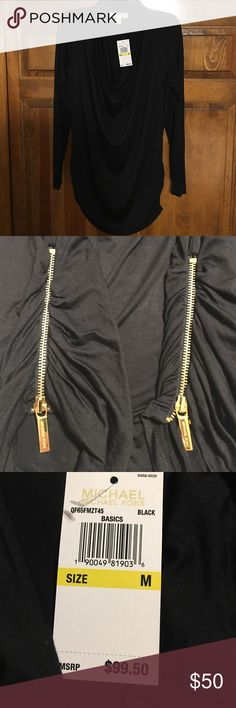 Michael Kors Blouse NWT Authentic; Black top with gold zippers on sides Michael Kors Tops Tees - Long Sleeve