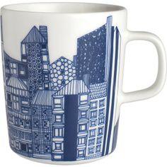 Marimekko Siirtolapuutarha Blue and White Mug I Crate and Barrel