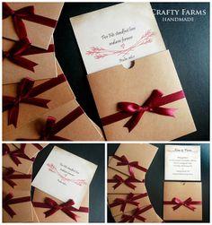 Church ceremony pocket wedding invitation cards with timeline vintage kraft square pocket wedding card with ribbon stopboris Gallery