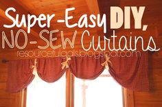 SUPER easy, NO-sew, DIY Curtains | by The Resourceful Gals