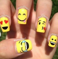 Cool Nail Art Interest With Emoji Nails at Cute 2017 Nail Designs Tips Cute Nail Art, Easy Nail Art, Cute Nails, Girls Nail Designs, Cute Nail Designs, Cartoon Nail Designs, Pedicure Designs, Nails For Kids, Girls Nails