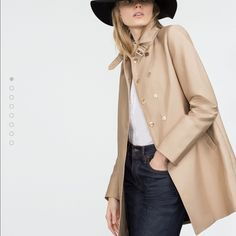 """ZARA tan trench coat - brand new. Get ready for Spring ! Love this ZARA tan trench coat. It didn't fit me  Brand new. Size large. Very soft material, not """"stiff"""". Zara Jackets & Coats Trench Coats"""