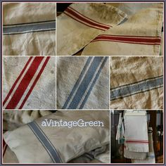 a Vintage Green: Tutorial Grain Sack Painted Stripes on Canvas Sacks Upholstery Cushions, Upholstery Nails, Pillows, Drop Cloth Projects, Diy Projects, Farmhouse Furniture, Farmhouse Ideas, French Farmhouse, Stripes