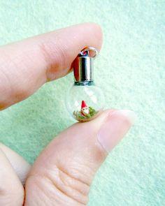 Tiny gnome pendant  micro terrarium vial by MijbilCreatures, $22.00
