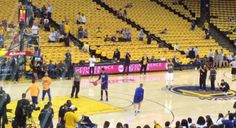 Steph Curry Hits Five Half Court Shots In A Row As A Warm Up