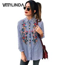 VESTLINDA Women Blouses 2017 Casual Floral Embroidery Shirt Long Sleeve Turn Down Collar Tops Striped Blusas Femme Loose Blouse(China (Mainland))
