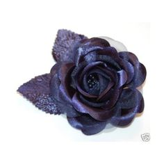 Navy Blue Satin Rose Pin Brooch or Hair Clip Hair Flower Wedding Decor Bridesmaid Prom ($4) found on Polyvore
