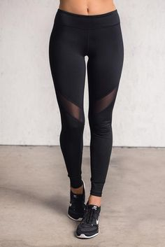 LA Steets Mesh Cutout Detail Activewear Leggings (Black)