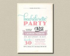 LOVE THIS STYLE INVITE!!! Printable Bachelorette Invitation  Vintage by rosiedaydesign, $18.00