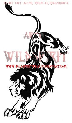 Tribal Lion Tattoo Designs | Tribal Leaping Lion Tattoo by *WildSpiritWolf on deviantART