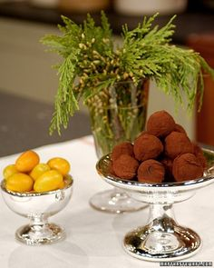 Semisweet chocolate, cream, and butter create a meltingly rich center for these truffles. Add a splash of sophistication to the truffles with your choice of liqueurs, such as Cognac, Poire William, Grand Marnier, or Creme de Menthe.