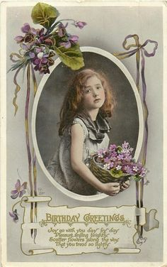 Birthday Greetings 112 Raphael Tuck GEM Birthday Series Basket of Violets Vintage Birthday Cards, Vintage Greeting Cards, Vintage Ephemera, Birthday Greeting Cards, Birthday Greetings, Birthday Postcards, Card Birthday, Images Vintage, Vintage Pictures
